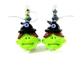 Witch Earrings, Halloween Earrings, Witch Jewelry, Lime Green Black Lampwork Earrings Scary Earrings Creepy Earrings Funny Earrings - Witchy