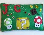 MARIO MUSHROOMS Custom Eco Felt Tooth Pillow Super Mario Mushroom Theme