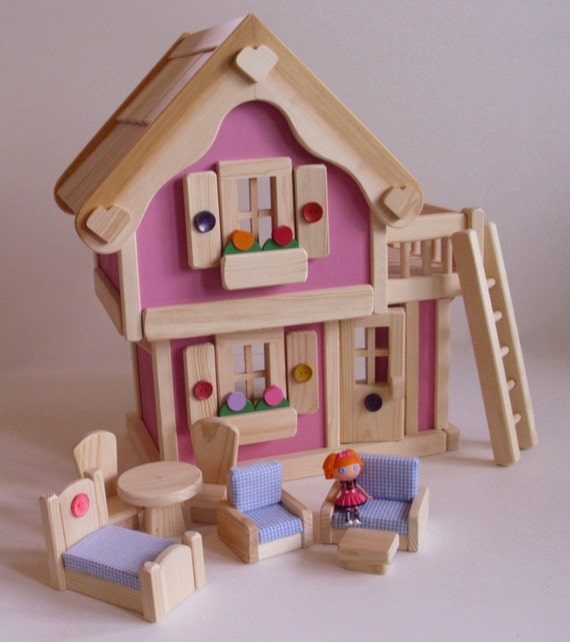 SALE Wooden Doll House, fits Mini Lalaloopsy Doll, Pink 2-storey ...
