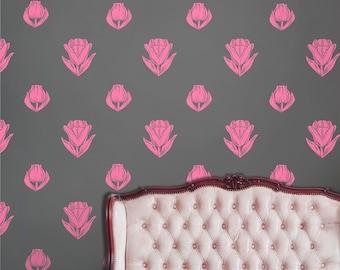 tulip wall decal pattern set, vinyl sticker art, flower