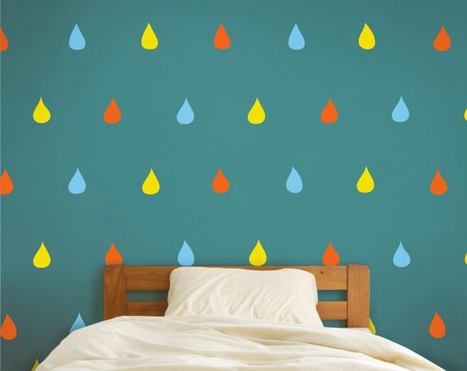 rain drops wall decals, cute rain vinyl art set, children's room vinyl wall clings, FREE SHIPPING