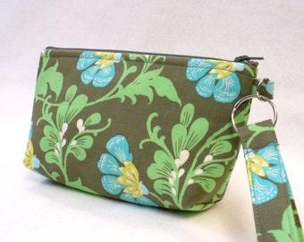SALE! Amy Butler Fabric Cosmetic Bag Wristlet Clutch Purse Zipper Pouch Pencil Case Key Fob Daisy Chain Sweet Jasmine Forest Green