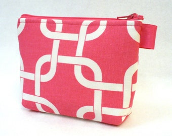 CLEARANCE SALE Hot Pink White Gotcha Square Knot Cosmetic Bag Zipper Pouch Makeup Bag Bridesmaid Gift Gadget Pouch