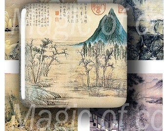 The Ancient Chinese Landscapes  - 63 1x1 Inch  Square JPG images - Digital  Collage Sheet