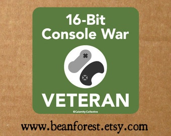 16 bit console war vet - video game decal gaming sticker snes nintendo sticker sega genesis nes retro games sonic the hedgehog veteran decal