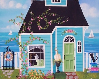 Storybook Cottage Folk Art Print