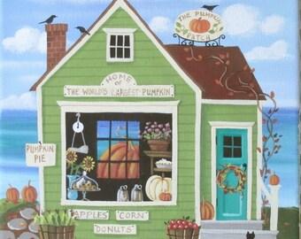 The Pumpkin Patch Market Folk Art Print