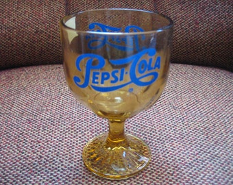 Vintage, 70s, Amber, Glass, Pepsi, Goblet, Drinking Glass