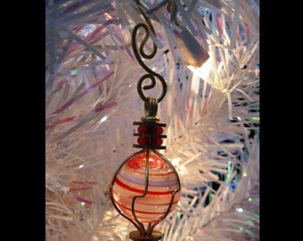 Handmade Marble Christmas Ornament Candy Stripe Glass Ornament