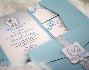 Fairy tale Wedding Invitations | Whimsical | Shimmery | Romantic | Blue | Silver | Elegant | Fairytale