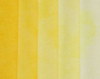 Hand Dyed Fabric - Yellow -  Color Wheel Basics Shades