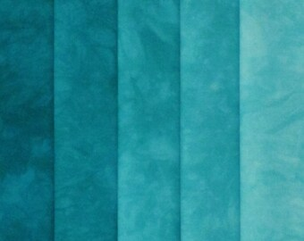 Hand Dyed Fabric - Blue -  Color Wheel Basics Shades