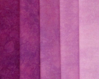 Hand Dyed Fabric - Red Purple -  Color Wheel Basics Shades