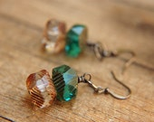 Modern Dangle Earrings Emerald Green Glass Beads - The River Rhine.
