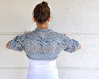 Grey Sweater Cardigan Bridal Shrug Bridal Bolero Wedding Jacket Hand Knit with Sequins Gray