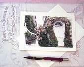 Charleston Floral Art Note Card, Romantic Charleston Home, Dreamy Climbing Pink Roses, Frameable White Note Card 5 x 7