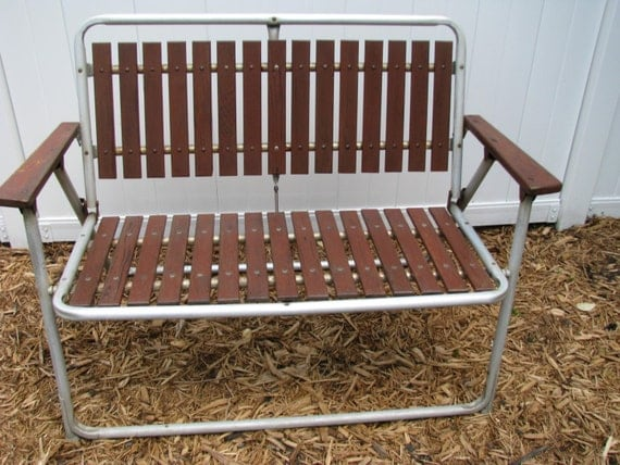 Vintage Aluminum Redwood Folding Lawn Patio Bench 2 By