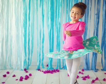 Twirly Skirt for Girls - Circle Skirt -Teal Butterfly and Floral  Skirt for Baby, Toddler and Youth Child - Quality Handmade Clothing