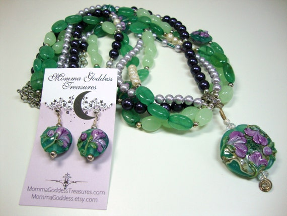 Purple and Green Multi-Strand Necklace with Pendant