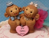Monkey Personalized Wedding Cake Topper Cute Cheeky Monkey Hand Sculpted  Forever Keepsake Bridal Shower or Grooms Cake