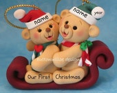 Bears on sled Personalized Ornament Twins, Best Friends, First Christmas Married,  Brother and Sister,  Mom and Dad, Grandma and Grandpa