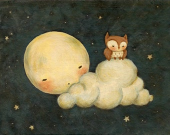Owl Say Goodnight Print 10x8 - Children's Art, Nursery Art, Moon, Night, Bedtime, Stars, Baby, Cute, Kids, Blue, Yellow, Bedtime, Starry Sky