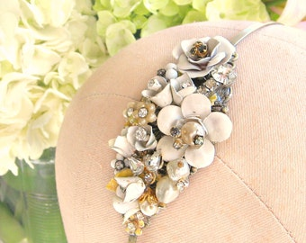 Pearls and Rhinestones Vintage Jewelry Assemblage Winter White Headband, Christmas Gift Head Piece, Bridal Accessories