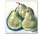3 Pears Oil Painting 6x6 inches, Kitchen Art, Food Art, Fruit Art