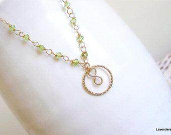 Peridot Necklace , Gold Circle  Necklace , Infinity  Necklace ,  gold fill , August Birthstone