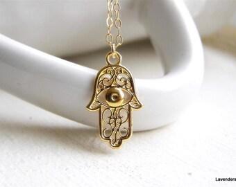 Hamsa Necklace , Gold Hamsa , Hand Charm Necklace ,  Hamsa Jewelry , Eveil Eye