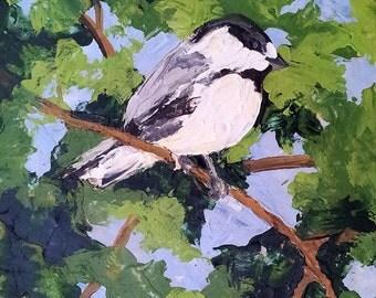 GARDEN SPARROW Original Painting Lynne French Impressionist WREN Landscape Art 8x10 Bird