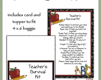 Teacher's Survival Kit includes Topper and Card - Digital Printable - Immediate Download