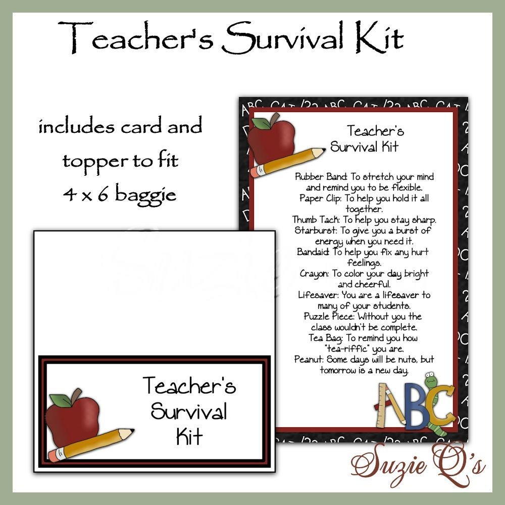 Teacher's Survival Kit includes Topper and Card Digital