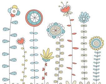 Doodleville Floral Digital Clipart Clip Art Illustrations - instant download - limited commercial use ok