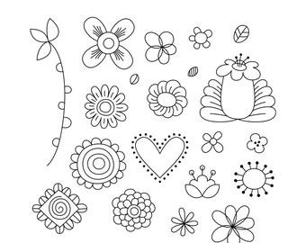 Doodled Vo1 Digital Stamps Clipart Clip Art Illustrations - instant download - limited commercial use ok