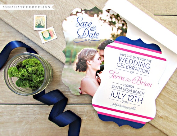 Ornate Die-Cut Nautical Wedding Invitations or Save the Dates - FREE 2 Day Shipping - Any Color, Paper, Font, Monogram/Logo