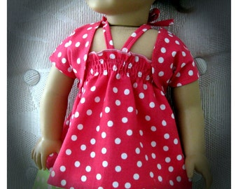 Eighteen 18 Inch Dotted Halter Pillowcase Doll Dress and Balero by Bon Jean Creations