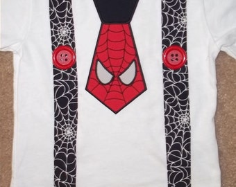 Spider Inspired Tie and Suspenders Shirt