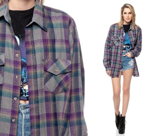 Flannel Plaid Shirt 90s Oversized Long Sleeve Purple By