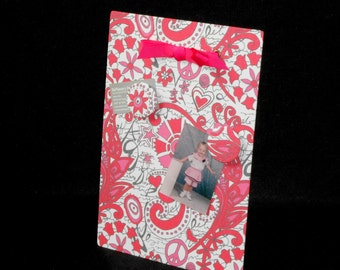 Fabric Magnet Board - Includes One Magnet - Hippie Chick Flamingo Pink - Wall Hanging Message Board