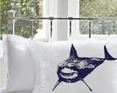 Two (2) Navy Blue Great White Shark Nautical white Pillowcase pillow cover case