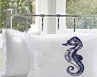 One (1) Navy Blue Sea Horse White Nautical Pillowcase cover pillow case