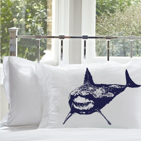 One (1) SHARK Pillowcase cover Mouth teeth jaws WEEK NAUTICAL tiger bull sharks room decor vintage Sea pillow case navy blue fishing fish