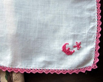 "Bridal  ""E"" Monogram in Pink  floss with flower  on White Linen with Pink  Crocheted edge. Mint Condition.."