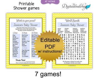 DIY editable printable baby shower games PDF (No.2) chevron boy or girl yellow - word search scramble bingo price purse Digital File
