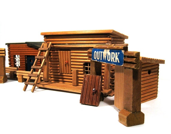 Vintage wood model buildings old west fort by thevintaquarian for Old wooden forts