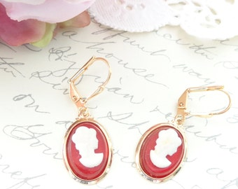 Lady in Red - Amber Red Cameo Earrings - Dangle Earrings