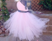 Tutu Dress, Flower Girl Dresses, Weddings, Light Pink Tulle, Charcoal Grey Ribbon, Ivory Flower, Portrait Dress, Flower Girl Dress
