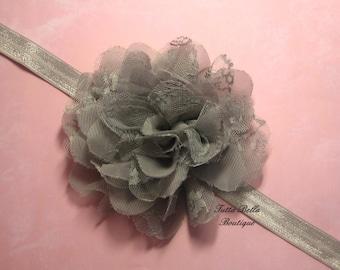 Gray Flower Headband - Large Lace & Chiffon Flower, Baby Headband Newborn Headband Toddler Headband