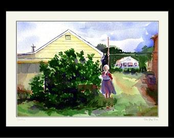 Fig Tree   Watercolor Print   Cape May NJ Landscape   Watercolor Home Art Decor  